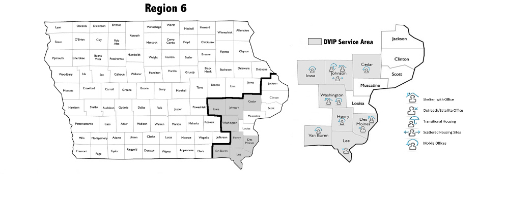 Domestic Violence Intervention Program Iowa areas served